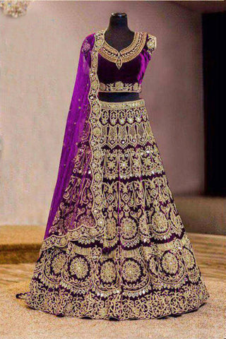 Purple Velvet Heavy Embroidered Semi Stitched Lehenga Choli