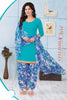 Blue Synthetic Crepe Printed Unstitched Dress Material