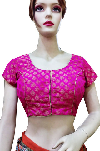 Pink Brocade Zari Work Stitched Blouse