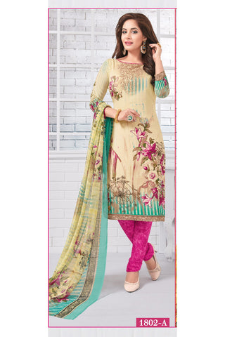 Beige Pink Synthetic Crepe Printed Unstitched Dress Material