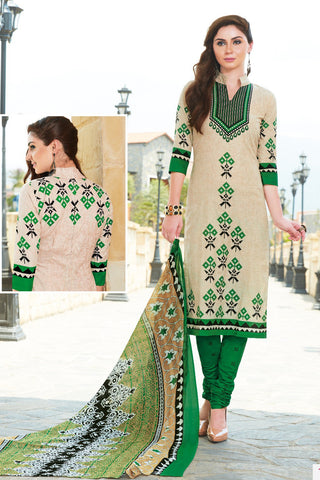Beige Green Cotton Printed Unstitched Dress Material