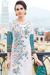 Off White Blue Cotton Printed Unstitched Dress Material