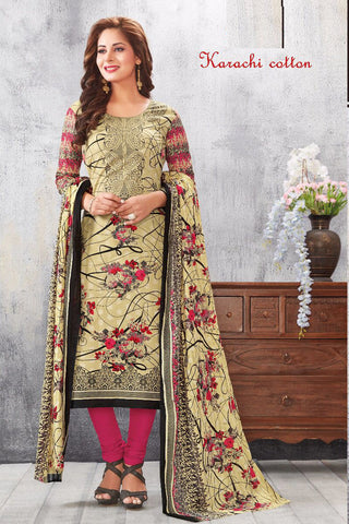 Beige Pink Karachi Cotton Printed Unstitched  Dress Material