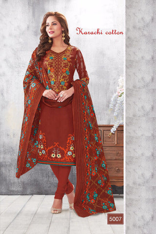 Brown Karachi Cotton Printed Unstitched  Dress Material
