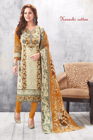 Cream Yellow Karachi Cotton Printed Unstitched  Dress Material