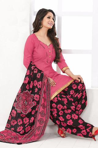 Pink Black Cotton Printed Unstitched Patiala Dress Material