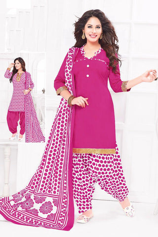 Pink White Cotton Printed Unstitched Patiala Dress Material