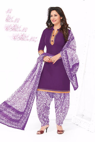 Purple White Cotton Printed Unstitched Patiala Dress Material