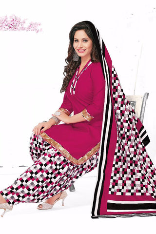 Pink Cotton Printed Unstitched Patiala Dress Material