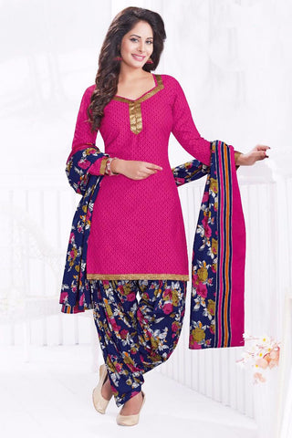 Pink Blue Cotton Printed Unstitched Patiala Dress Material