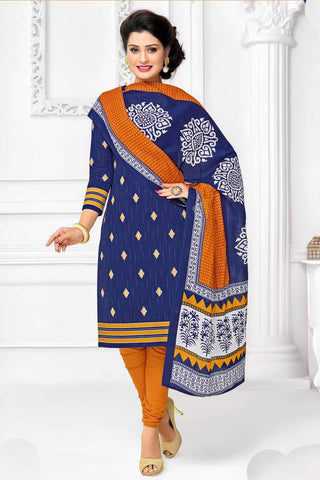 Blue Orange Cotton Printed Unstitched Dress Material