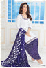White Purple Cotton Printed Unstitched Patiala Dress Material