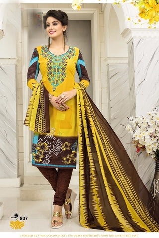 Yellow Brown Synthetic Crepe Printed Unstitched Dress Material
