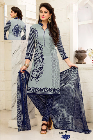 Grey Blue Synthetic Crepe Printed Unstitched Dress Material