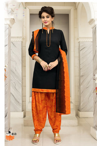 Black Orange Synthetic Crepe Printed Unstitched Dress Material