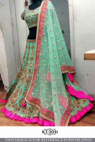 Green Banglori Silk Designer Wedding & Bridal Lehenga Choli