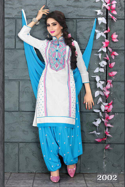 White Blue Cambric Cotton Embroidered Semistitched  Dress Material
