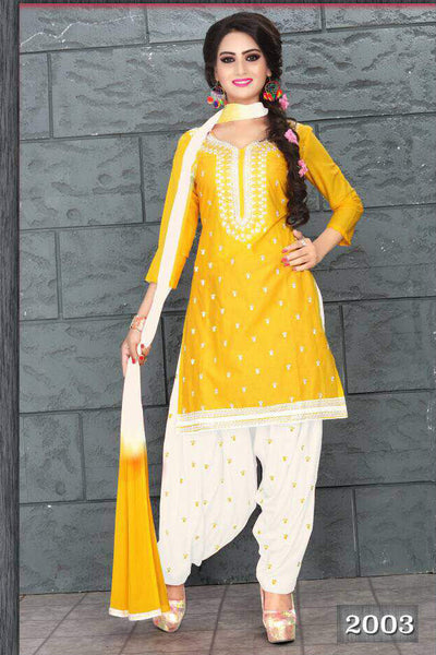 Yellow White Cambric Cotton Embroidered Semistitched  Dress Material