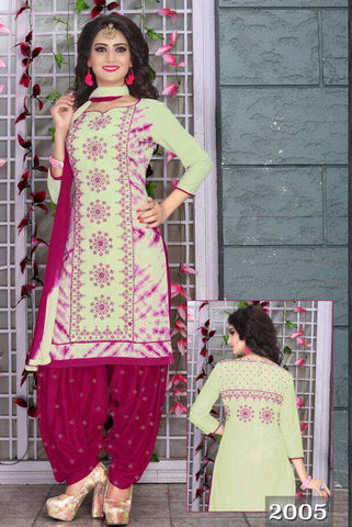Pista Pink Cambric Cotton Embroidered Semistitched  Dress Material
