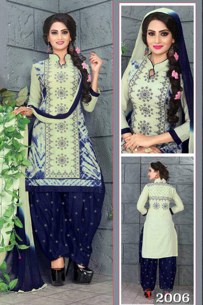 Pista Blue Cambric Cotton Embroidered Semistitched  Dress Material