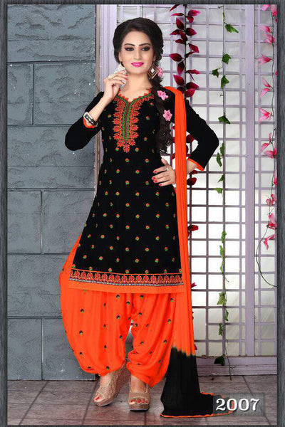 Black Orange Cambric Cotton Embroidered Semistitched Dress Material