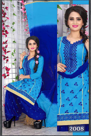 Blue Cambric Cotton Embroidered Semistitched  Dress Material
