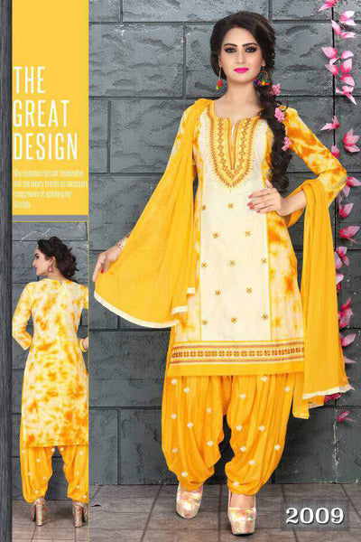 Cream Yellow Cambric Cotton Embroidered Semistitched  Dress Material