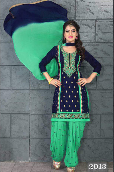 Blue Green Cambric Cotton Embroidered Semistitched  Dress Material