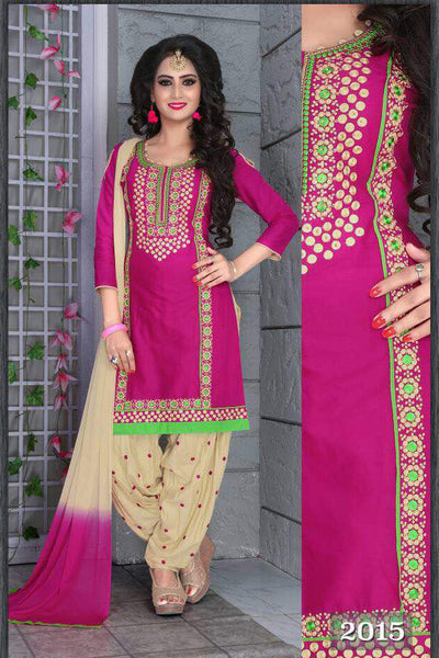 Pink Beige Cambric Cotton Embroidered Semistitched  Dress Material