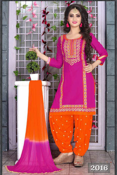 Pink Orange Cambric Cotton Embroidered Semistitched  Dress Material