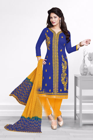 Blue Yellow Cotton Embroidered Semistitched Salwar Suit