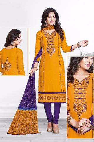 Yellow Purple Cotton Embroidered Semistitched Salwar Suit