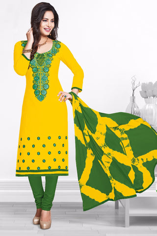Yellow Green Cotton Embroidered Semistitched Salwar Suit