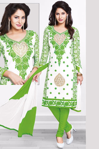 White Green Cotton Embroidered Semistitched Salwar Suit