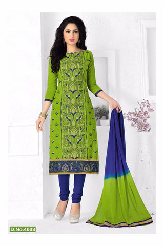 Green Blue Cotton Embroidered Semistitched Salwar Suit