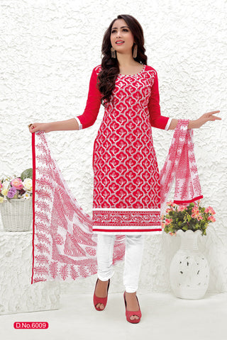 Red White Cotton Embroidered Semistitched Salwar Suit