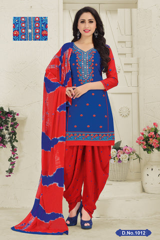 Blue Red Cotton Embroidered Semistitched Patiala Suit