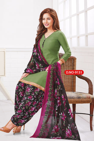 Green Black Synthetic Crepe Printed Unstitched Dress Material