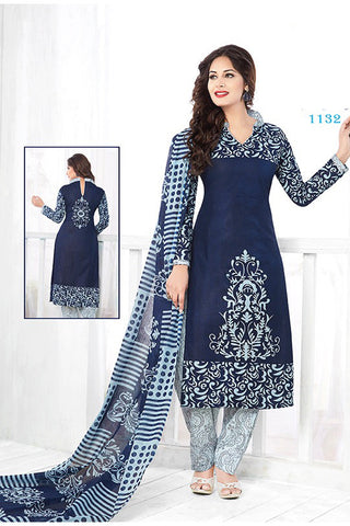 Blue Cotton Printed Unstitched Party Wear Dress Material