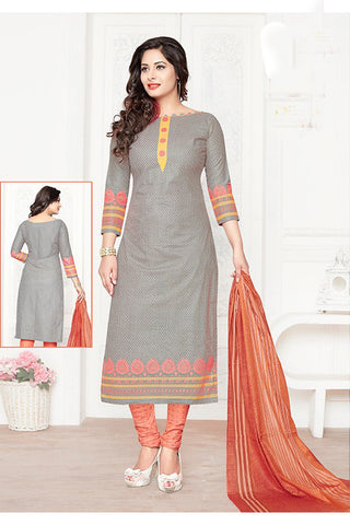 Grey Orange Cotton Printed Unstitched Party Wear Dress Material