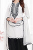 White Black Cotton Embroidered Semistitched Salwar Suit