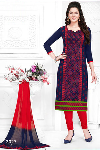 Blue Red Cotton Embroidered Semistitched Salwar Suit