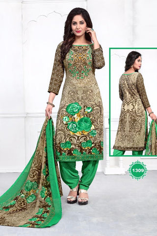 Beige Green Synthetic Crepe Printed Unstitched Dress Material