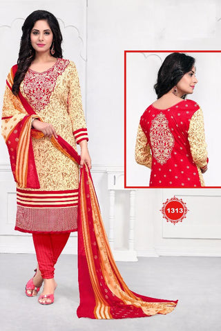 Cream Red Synthetic Crepe Printed Unstitched Dress Material