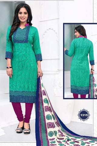 Green Purple Synthetic Crepe Printed Unstitched Dress Material