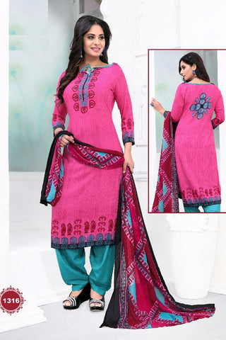 Pink Blue Synthetic Crepe Printed Unstitched Dress Material