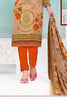 Beige Orange Synthetic Crepe Printed Unstitched Dress Material
