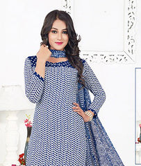 Blue White Synthetic Crepe Printed Unstitched Dress Material