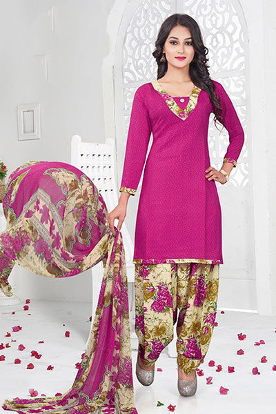 Pink Synthetic Crepe Printed Unstitched Dress Material