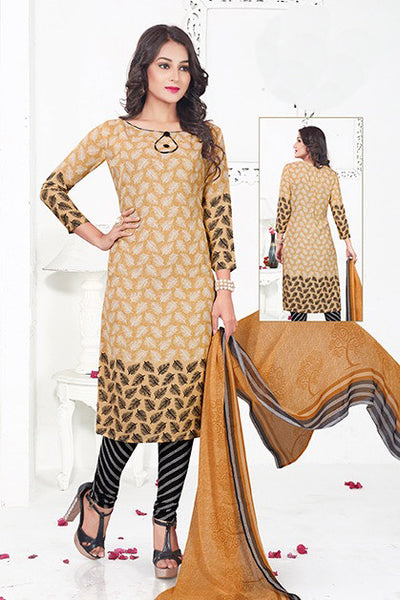 Brown Black Synthetic Crepe Printed Unstitched Dress Material